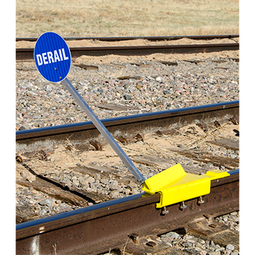 Portable Derail with Sign, Left Throw